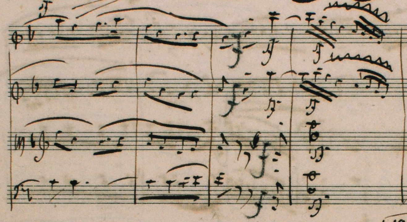 Fig. 2: Autograph score, movement IV: Allegro molto vivace, mm. 180–183