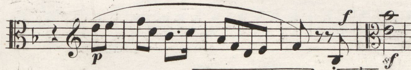 Fig. 3: First edition of the parts (1843), viola, movement IV: Allegro molto vivace, measures 179–183
