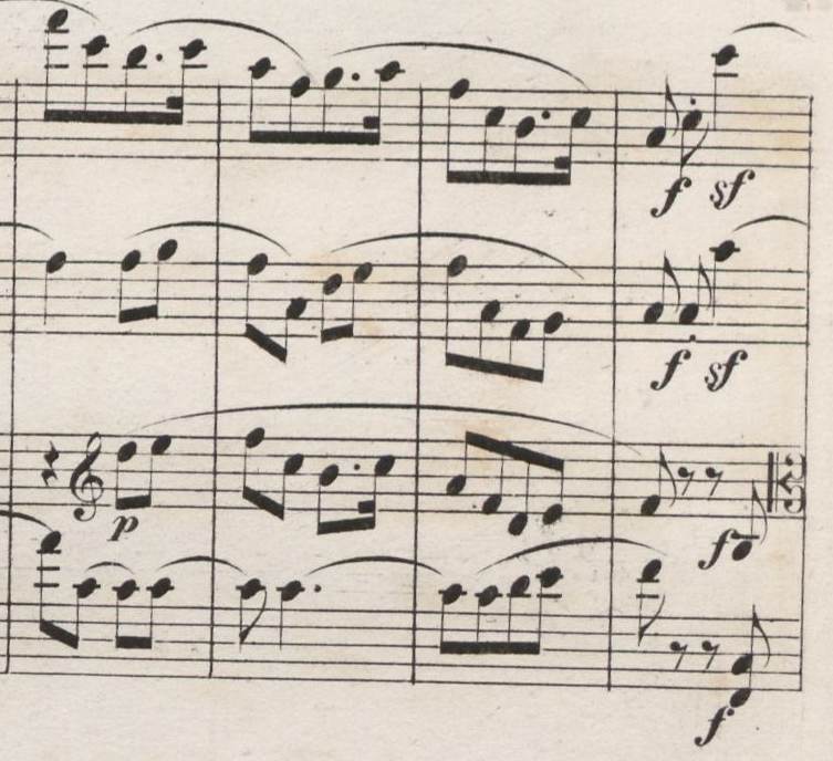 Fig. 4: First edition of the score (1849), movement IV: Allegro molto vivace, measures 179–182