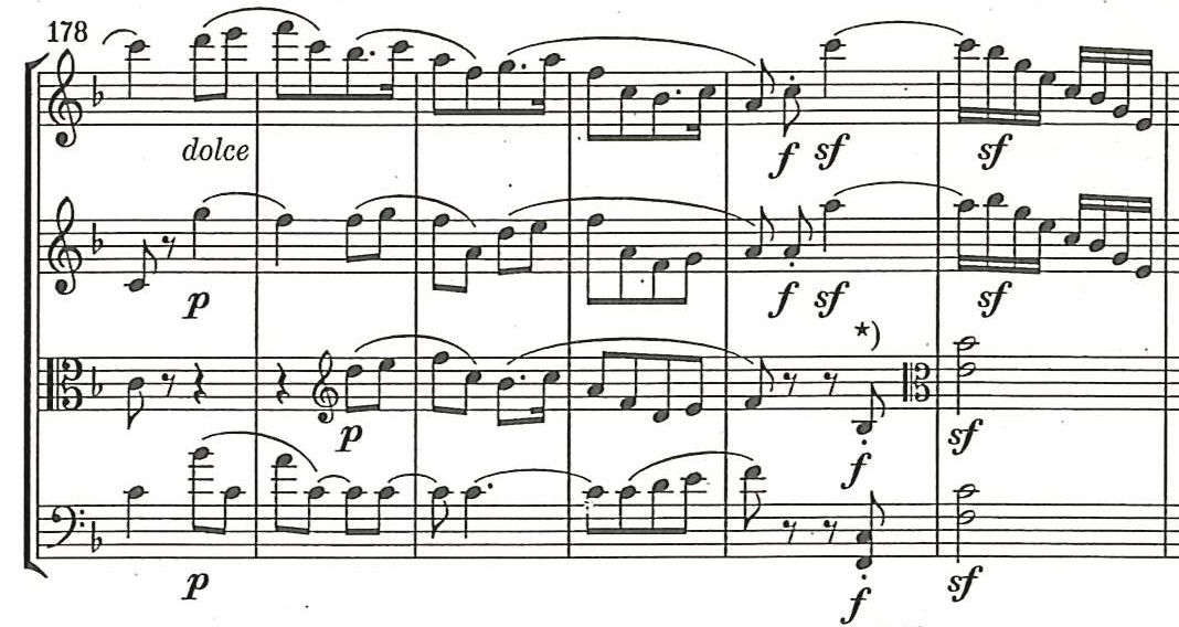 Fig. 6 Edition Henle (2014) movement IV: Allegro molto vivace, measures 178–183