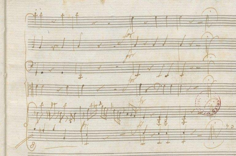 Ausschnitt Mozart Autograph, S. 16r.