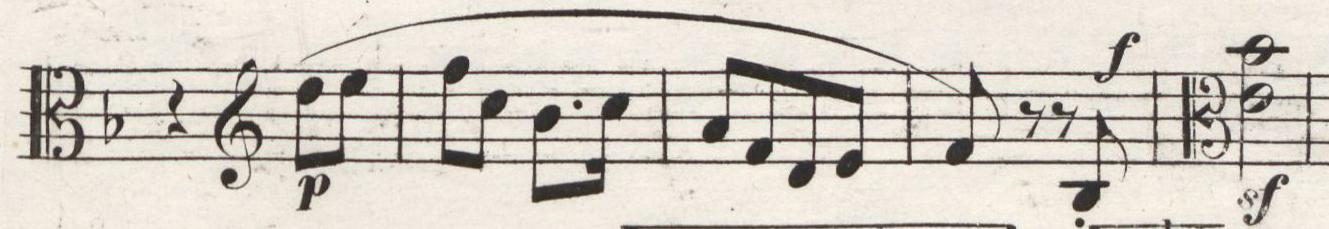Abb. 3: Erstausgabe in Stimmen (1843), Viola, Satz IV: Allegro molto vivace, Takte 179–183