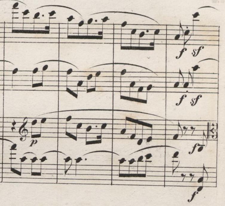 Abb. 4: Erstausgabe der Partitur (1849), Satz IV: Allegro molto vivace, Takte 179–182