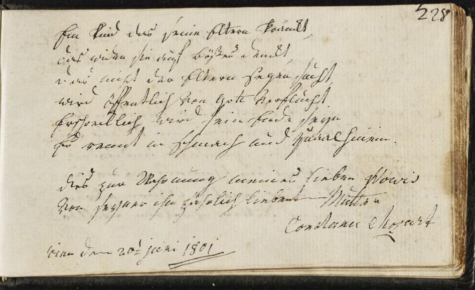 Stammbucheintrag Constanze Mozarts, 20. Juni 1801 (Quelle: Mozarteum Salzburg, http://dme.mozarteum.at/DME/briefe/letter.php?mid=3191&cat=6)