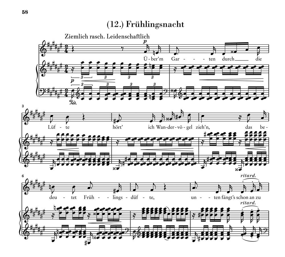 """""""Frühlingsnacht"""" aus Opus 39 Anfang"""