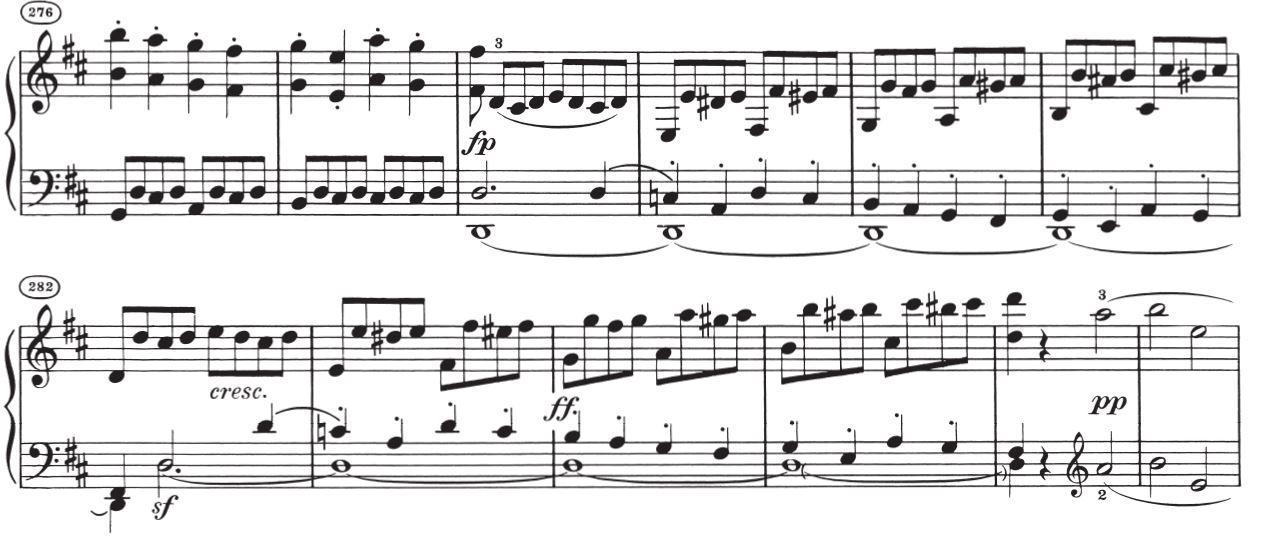 Sonate Op. 10 Nr. 1, 1. Satz, Exposition und Durchführung