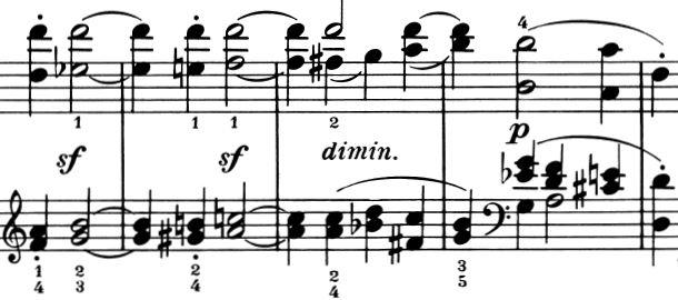 Sonate op. 31 Nr. 2, 1. Satz, Durchführung