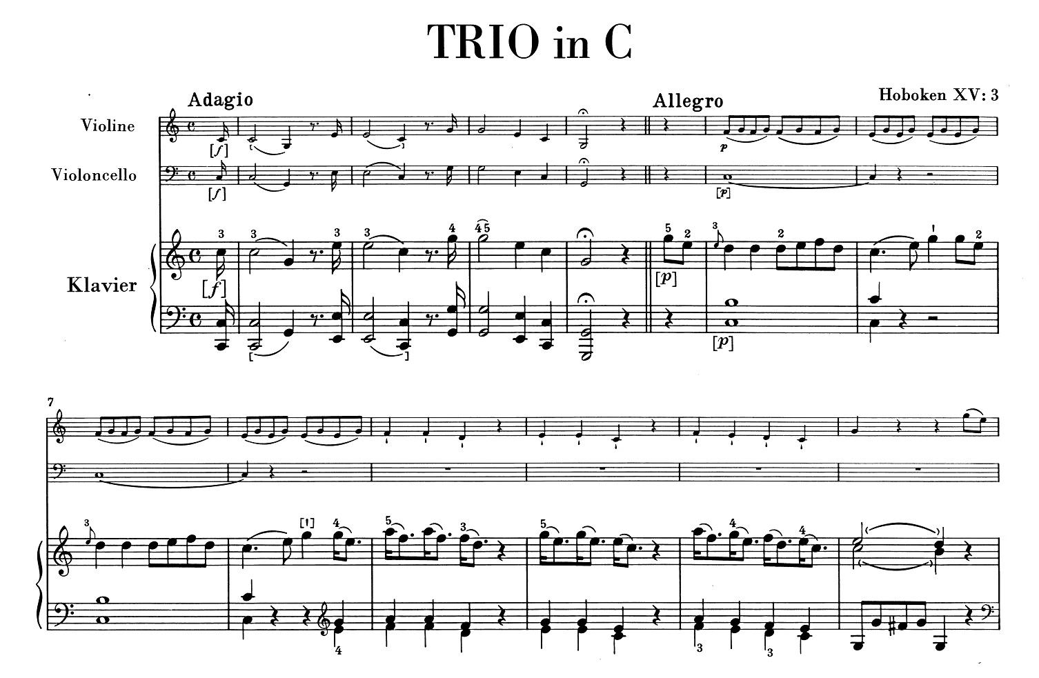 Der Beginn des 1. Trios