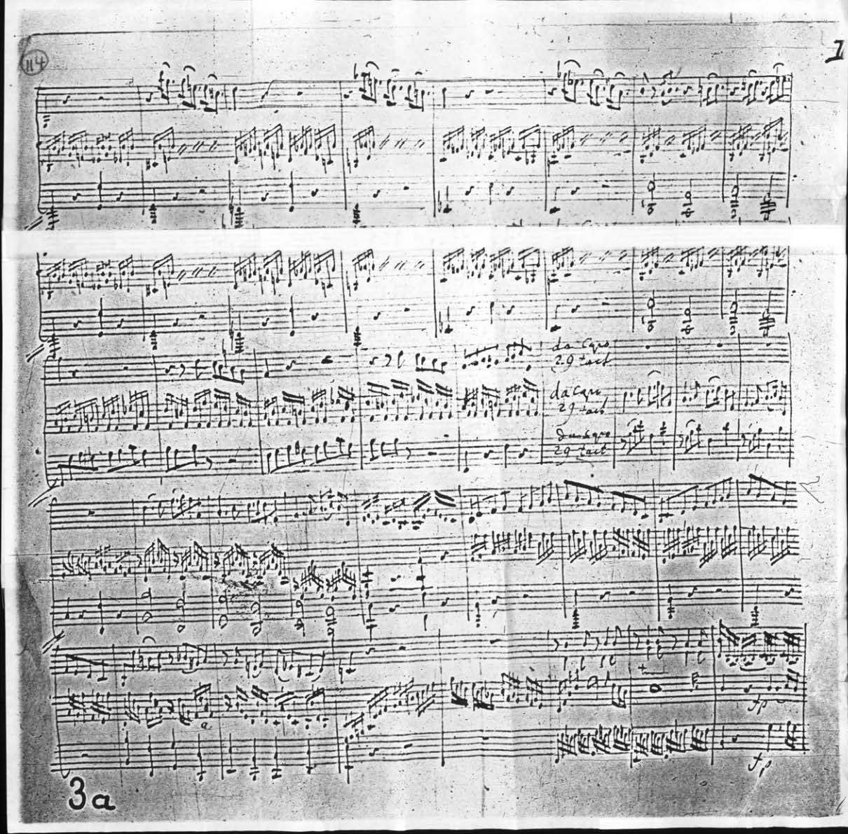 Allegro of a Sonate B-dur for Piano and Violin Fragment, KV 372, p. 3a (Source: National Library of Austria, Music Collection, Shelfmark: 6462/2863)