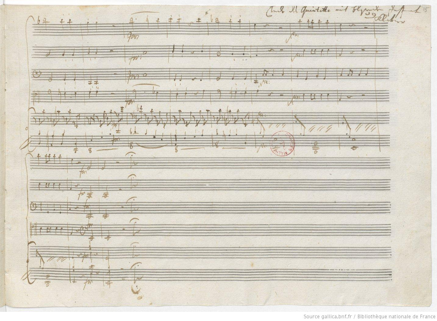 Mozart Autograph, p. 15r (Source gallica.bnf.fr/Bibliothèque nationale de France)
