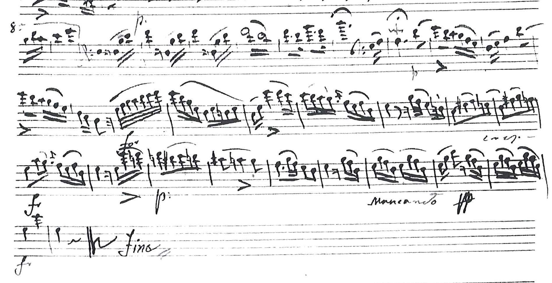 excerpt of the autograph double bass part (Source: GB-Lbl: Add. Ms. 17832-4)