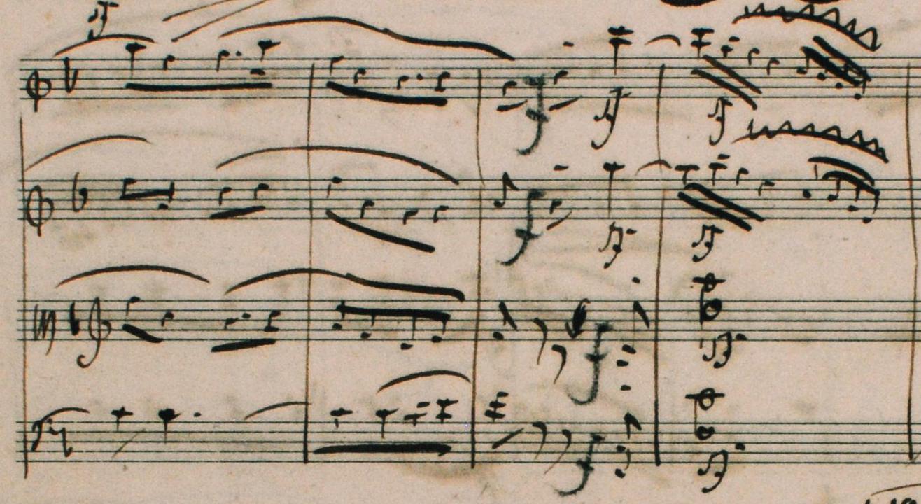 Fig. 2: Autograph score, movement IV: Allegro molto vivace, mm. 180–183