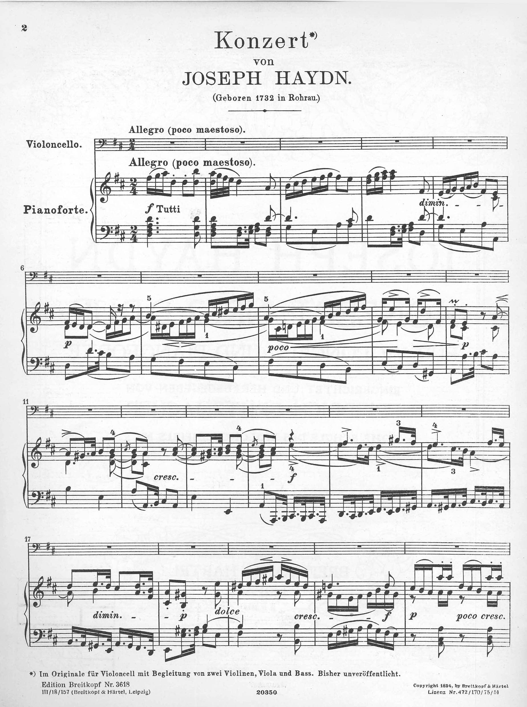 Concerto G major Hob VIIa Joseph  study score violin and orchestra 9 4  Haydn